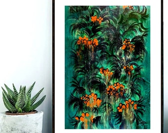 "Tropical Orange Flowers Painting - Orange and Teal Green Colorful Botanical Wall Art Print - Home Decor - 8x10"" Fine Art Print"