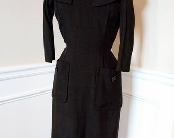 SMART Vintage 50s Ira Rentner Black Wiggle Dress