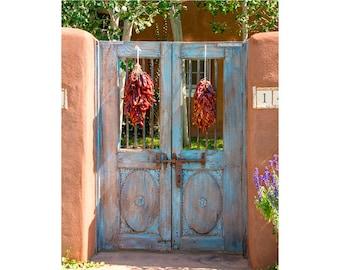 Door Photography, Santa Fe Door, Blue Door Art Print, Southwestern Photo  Art,