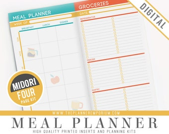 Midori Meal Planner Inserts - Fits Midori Traveler's Notebooks, Fauxdori, Printable Pages - Weekly Menu Planner, Recipe Cards & Grocery List