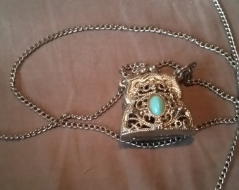 Vintage silver tone purse necklace