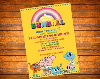 The Amazing World of Gumball Invitation DIGITAL download or PRINTED