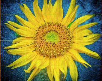 Ceramic Tile Mural- Sunflower on Blue