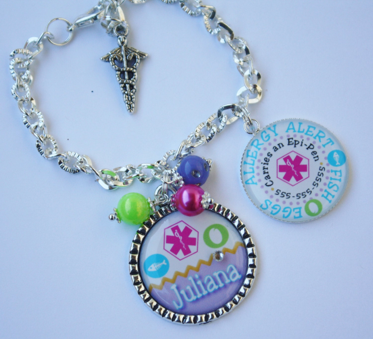 personalized allergy alert bracelet or necklace id with