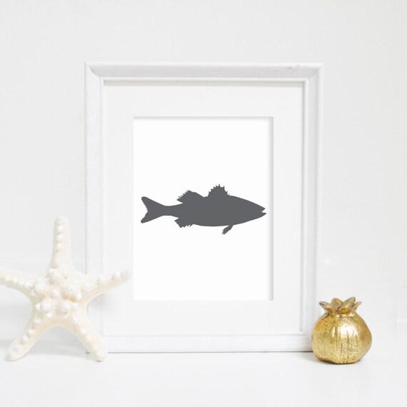 Fish Wall Decor, Gray, Sea Bass Print, Fish Wall Art, Striped Bass, Digital Print, Nautical Decor, Downloadable Print, Gray Print