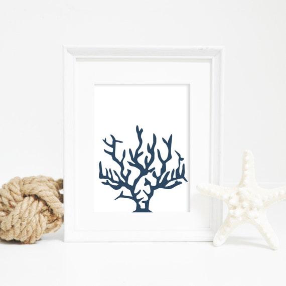Beach House Decor, Nautical Print, Coral Print, Coral Wall Art, Sea Life Print, Navy Blue Print, Printable Wall Art, Digital Download