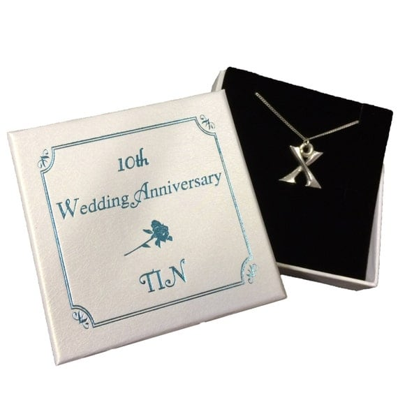 Tin Gifts For 10th Wedding Anniversary: 10th Wedding Anniversary Roman Numeral 10 Tin Necklace In