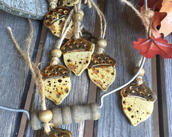 Ceramic Acorn Ornament | Ceramic Acorn Charm| Pottery Acorn Charm | Stoneware Acorn gift tag | Acorn gift tag | Fall decor | Autumn gift tag