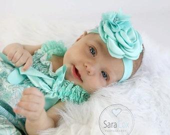 Alyssa Flower Headband Photo Prop Aqua