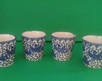 Vintage Blue and White Porcelain Sake Tea Cups Phoenix Flying Turkey Bird Japan Chinoiserie Asian Export Hollywood Regency - Set of 4
