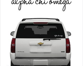 Alpha Chi Omega // A Chi O // Sorority Vinyl Car Window Decal (cursive) // Laptop Decal // Greek Letters Sticker Decal