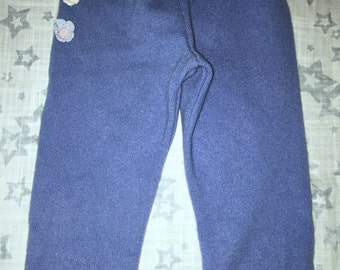 100% Cashmere Cornflower Blue Baby Toddler Leggings Longies Pants Longies - Size 12-18M