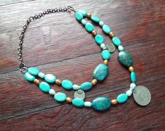 Tribal Belly Dance Necklace with Middle Eastern Coins Turquoise Stone Beads and Gold Pearls