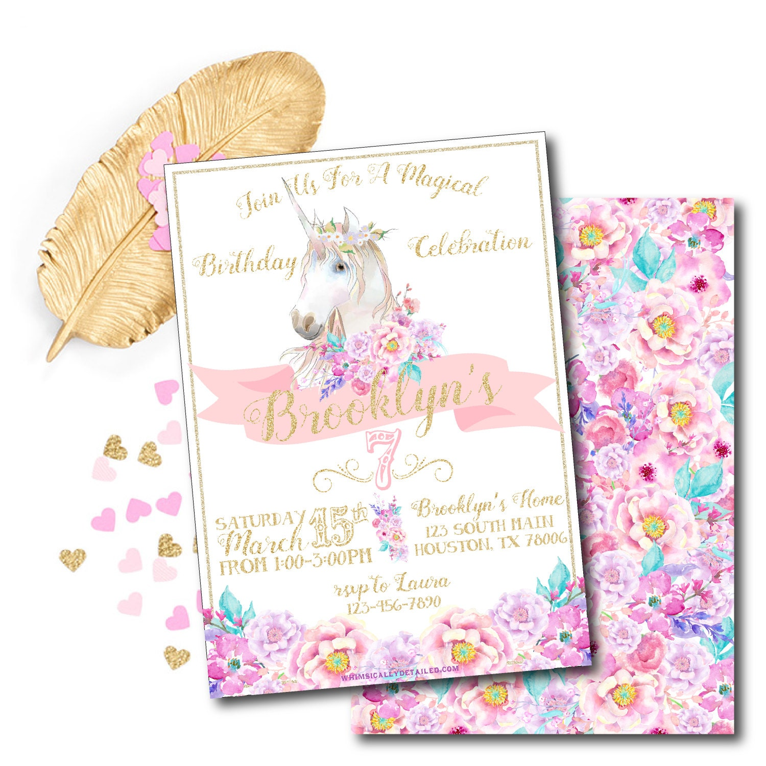 Unicorn Birthday Invitation Pony Party Invitations Unicorn Baby