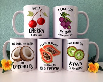 Coffee Mug Fruit Set of 5 Coffee Mugs - Great Gift for Vegan or Vegetarian - Funny Fruit and Veggi Mugs