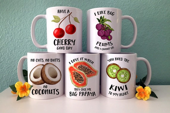 Coffee Mug Fruit Set of 5 Coffee Mugs - Great Gift for Vegan or Vegetarian - Funny Fruit and Veggi Mugs