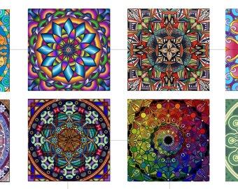 "Mandala, Geometric, Digital Collage Sheet, Square, Tiles, Cabochon, Scrapbooking, Printable Downloads, 1.5"", 1 inch, 20mm, dcs023"