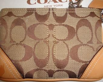 Vintage COACH Khaki/Light Brown Fabric/Canvas with Leather Trim Wristlet/Clutch