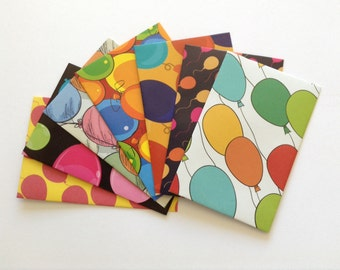 Balloon envelopes, party stationery, birthday envelopes, set of 7, pen pal, lunch box notes, bright pattern, bright colour
