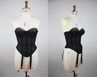 1950s Warner's Merry Widow / 50s Black Bustier / Warner's Corset / Waist Cincher / Size Small Medium