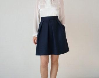 Navy skirt, mini skirt, high waist skirt, short skirt,navy short skirt, navy mini skirt, office skirt,skirt pleat, pleated skirt,