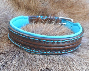 Leather collar, dog collar, collar, Brown turquoise