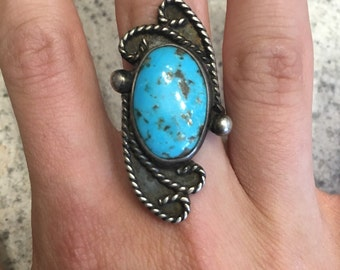 Sterling Silver Turquoise Spotted Ring Size: 8