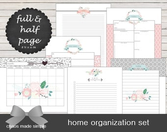 Home Organization Planner printable with calendars, schedules, to-do lists, notes, and daily summary. Digital download instant printable.