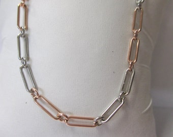 14K Rose Gold and Platinum Chain Necklace