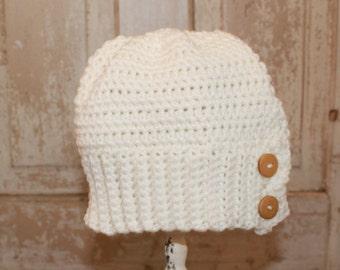 Child Button Brimmed Hat