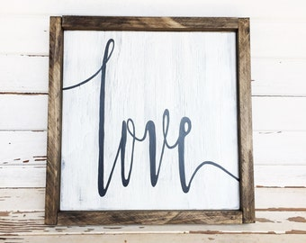 Hand painted love sign; love wooden sign; wood sign with frame