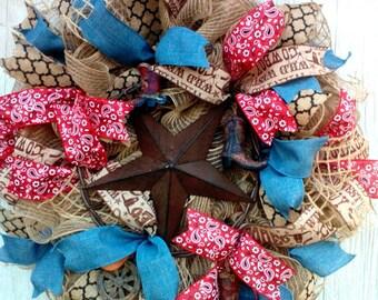 Western Welcome Wreath, Country Wreath, Southwestern Star Wreath, Burlap Rustic Wreath, Western Decoration, Western Star Wreath
