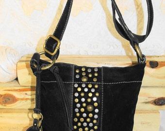 Lovely Vintage Velvet Felted Studded FOSSIL Shoulderbag Crossbody Bag Purse / Brass Studs And Hardware