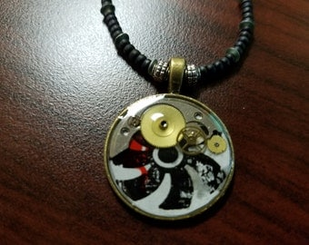 steampunk styled resin crafted necklace