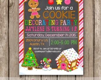 Cookie decorating birthday invitation, Cookie decorating invitation, cookie invitation, christmas invitation, christmas birthday invitation