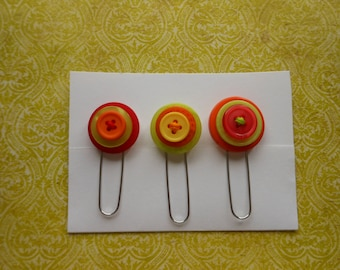 Button Paperclip Set, Fall Color Set, Paperclip Bookmark, Button Bookmark