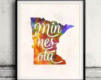 Minnesota - Map in watercolor - Fine Art Print Glicee Poster Decor Home Gift Illustration Wall Art USA Colorful - SKU 1762