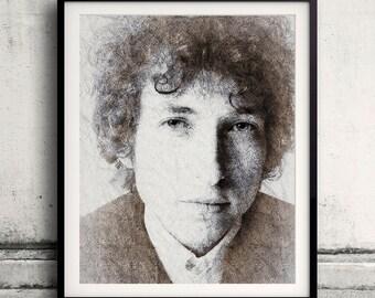 Bob Dylan portrait 03 in pen & watercolor - Fine Art Print Glicee Poster Gift Illustration Artist Poster - SKU 1926