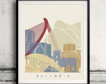 Valencia skyline poster - Fine Art Print Landmarks skyline Poster Gift Illustration Artistic Colorful Landmarks - SKU 1939