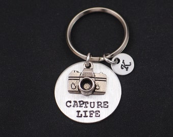Capture Life hand stamped keychain keyring with camera charm, personalized initial charm, silver photographer keychain, photographer gift