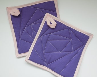 Purple and Pink Quilted Potholders - Set of two