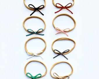 ADELYN suede mini bow headband