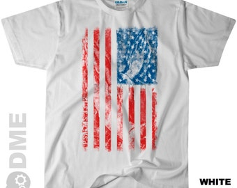 PRAYING HANDS American Flag Psalms 33:12 Tee Shirt