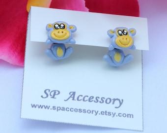 monkey earrings, Monkey clay earrings, red money, blue monkey clay earrings, stud earring, earrings clay, monkey stud