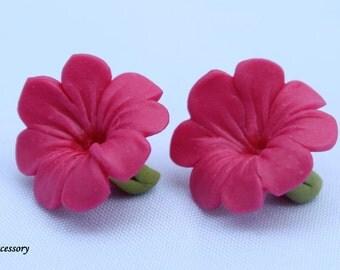 flower earrings, lovely hibiscus earrings, earrings clay, pink flower, blue flower