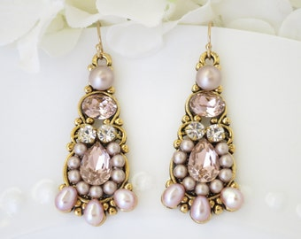 Wedding earrings, Gold and blush chandelier earrings, Swarovski crystal and pearl bridal earring, Pink and champagne statement earring