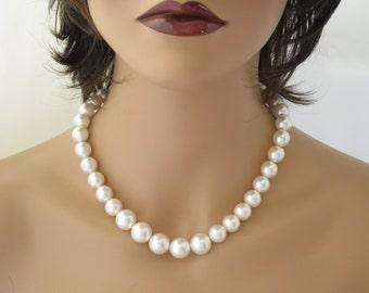 Large Swarovski pearl necklace, Pearl bridal necklace