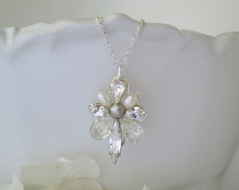 Swarovski crystal and freshwater pearl pendant necklace, Pearl and rhinestone bridal necklace, Simple wedding necklace