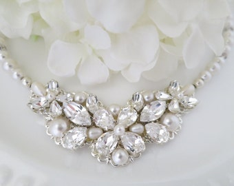 Statement wedding necklace, Swarovski rhinestone and pearl bridal necklace, Crystal and pearl necklace