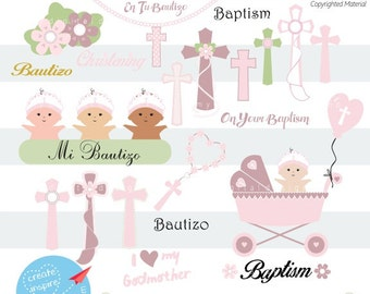 My Christening Day Baby Girl Clipart, SVG, PNG Image, Cross Clip Art, Kids Religious, Baptism Girl, Scrapbook, Digital Easter Crosses  C025